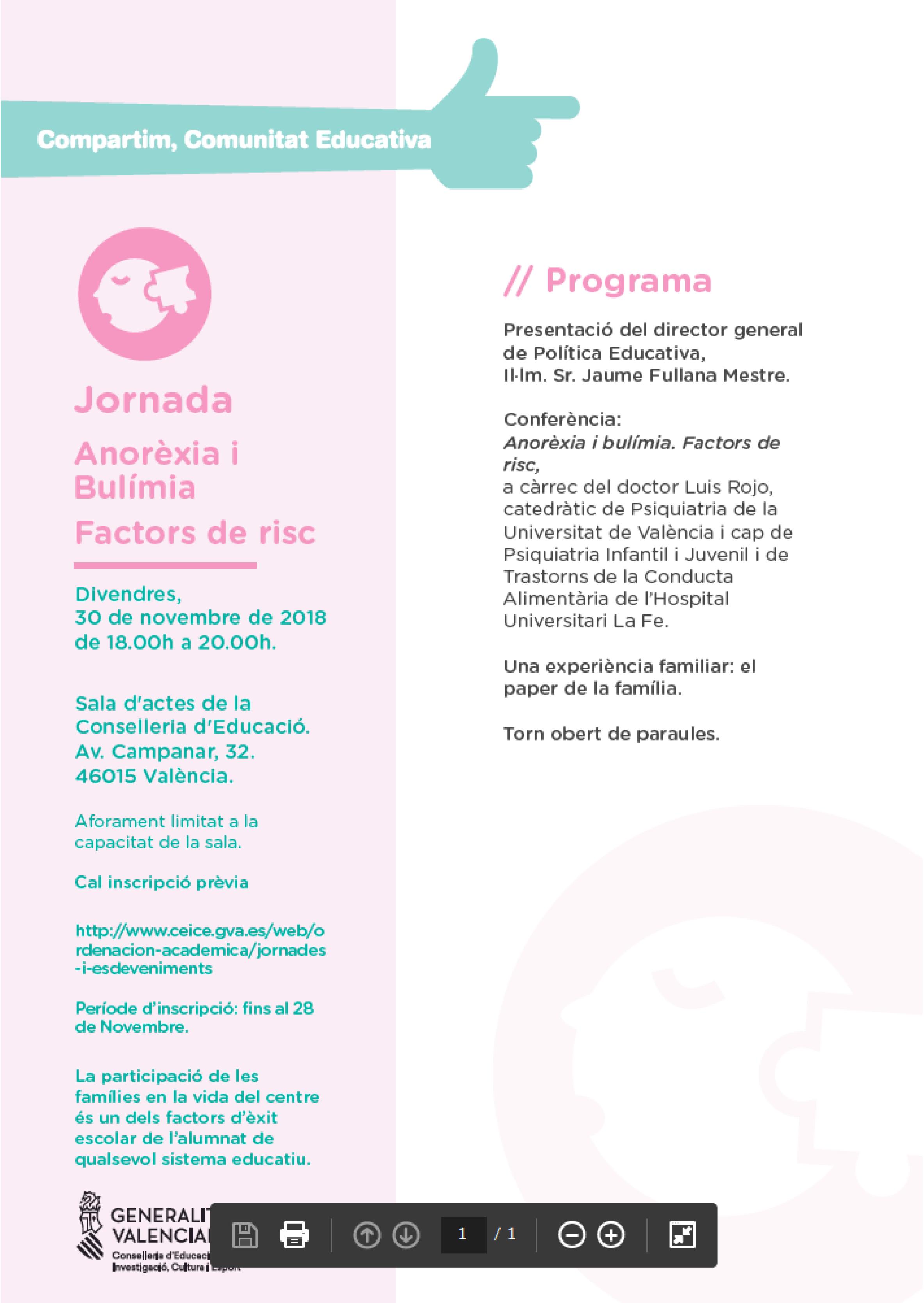 COMPARTIM COMUNITAT EDUCATIVA – Trastorns de l'alimentació: l'Anorèxia i la Bulímia